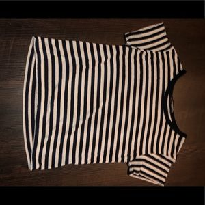 BRANDY MELVILLE NAVY AND WHITE STRIPED SHIRT